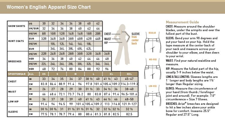 fouganza jodhpurs size guide