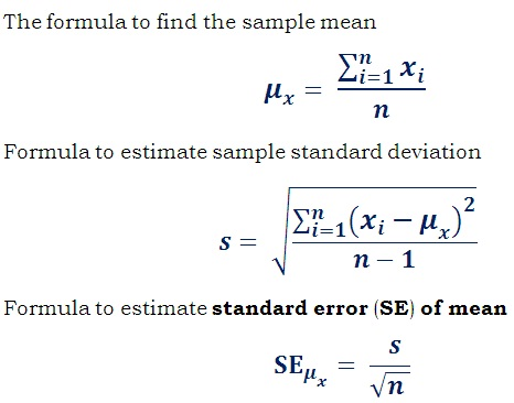 how to calculate standard deviation from mean and sample size