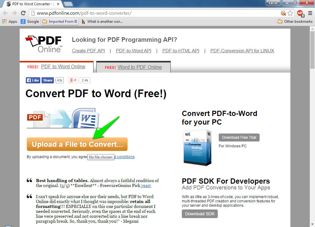editing a file from pdf