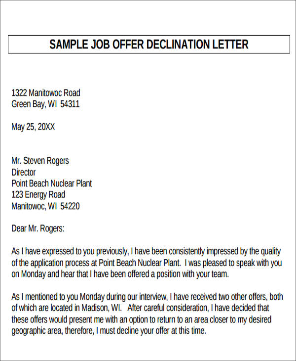 how to decline a job offer sample