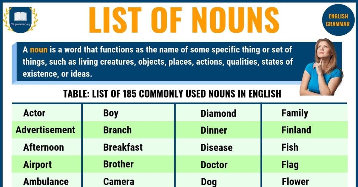 list of common nouns pdf