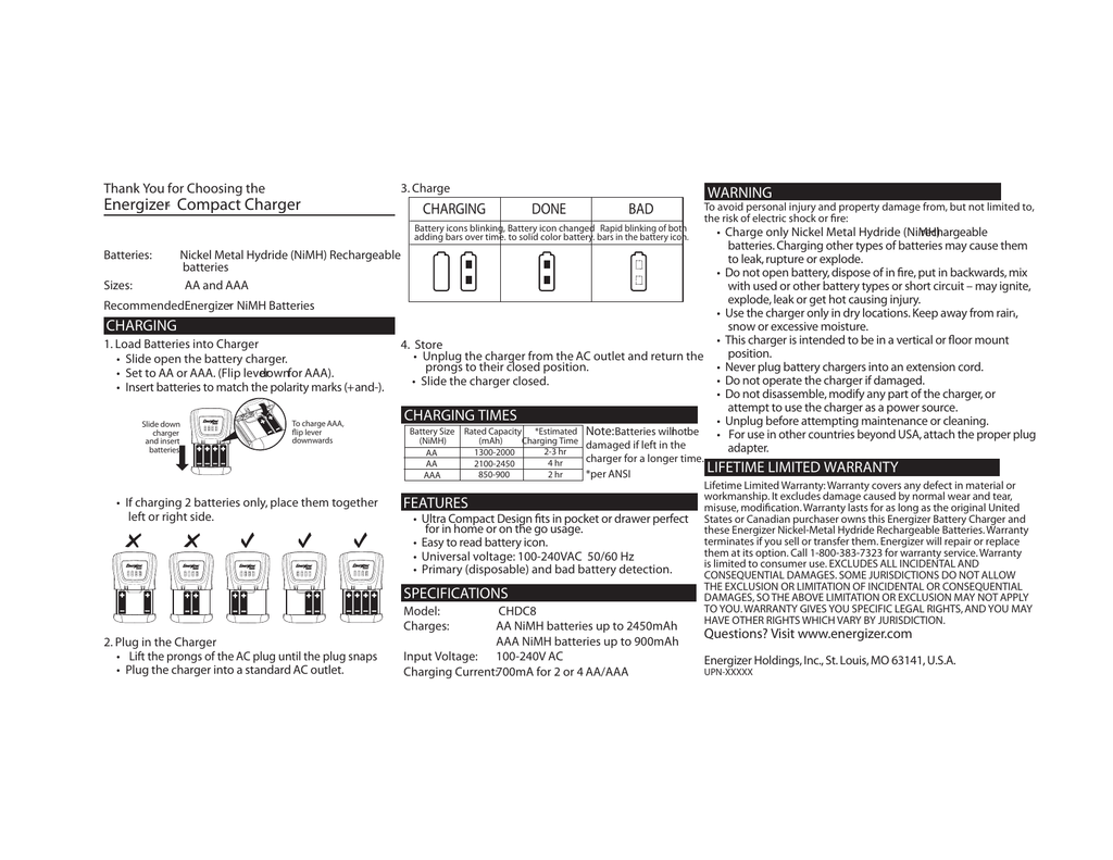 energizer compact charger manual