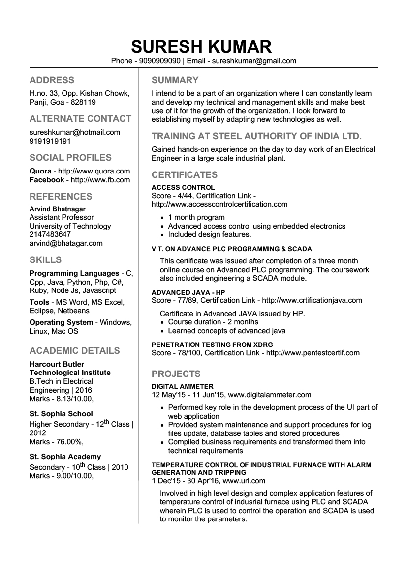 experienced electrical engineer cv pdf