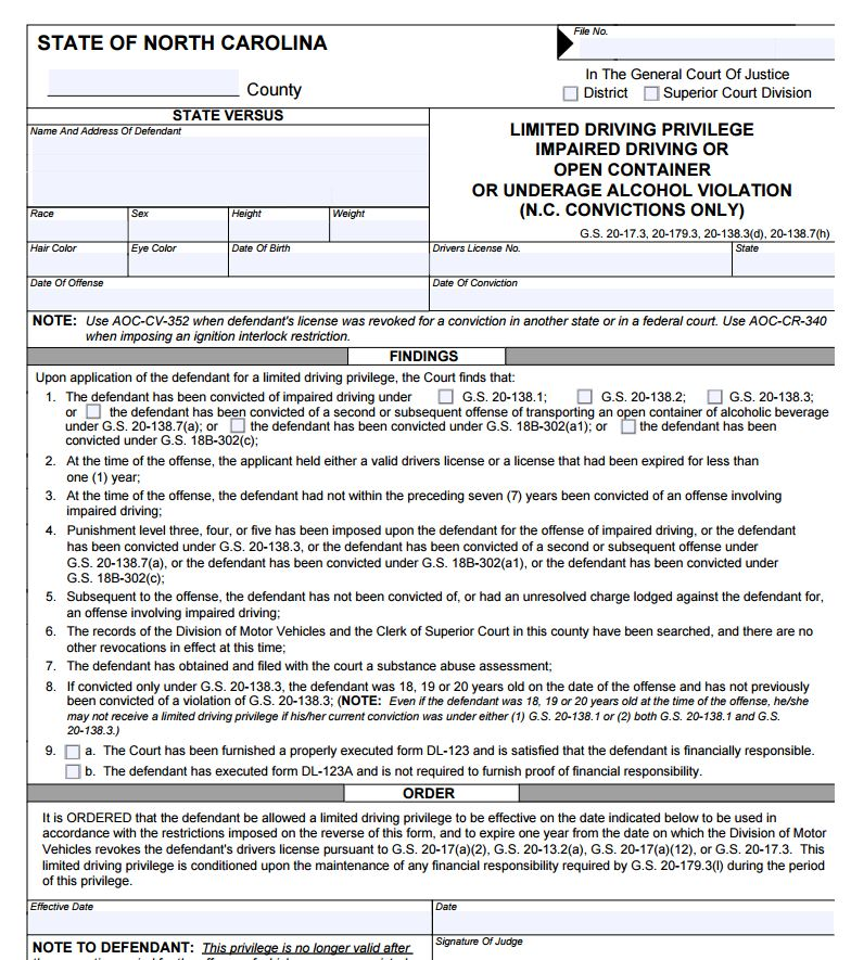 limited licence application example