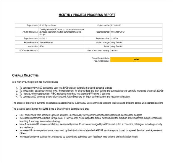employee progress report sample