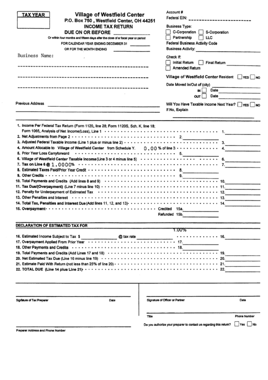 income tax return form pdf