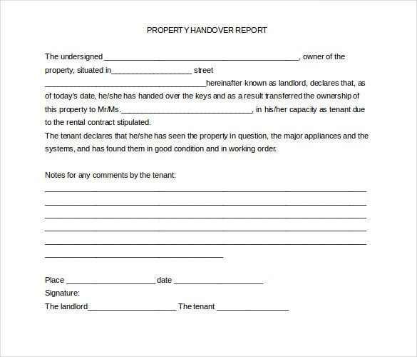 employee handover report sample