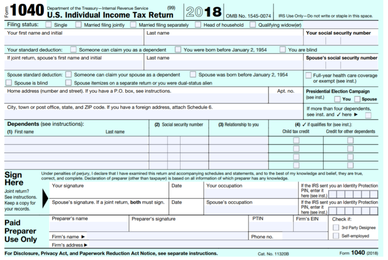 irs form 1040 instructions 2018