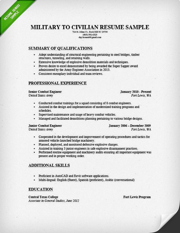 leadership sample for army resume
